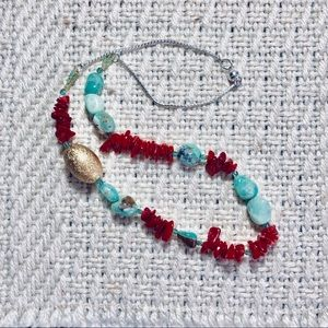 Gemstone necklace coral and chrysoprase 🎀🛍🎁